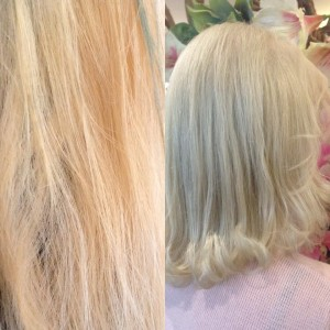 Old color >gold blond New color> ash cool blond