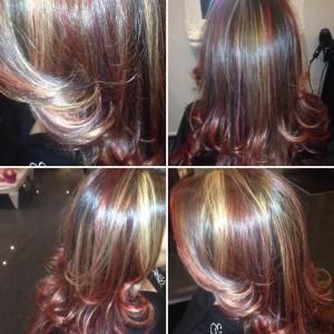 Herfstlook Red/violet & Blond